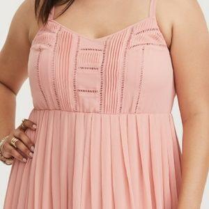 e8d423763e4 torrid Dresses - Torrid Blush Pleat   Eyelet Chiffon Maxi Dress